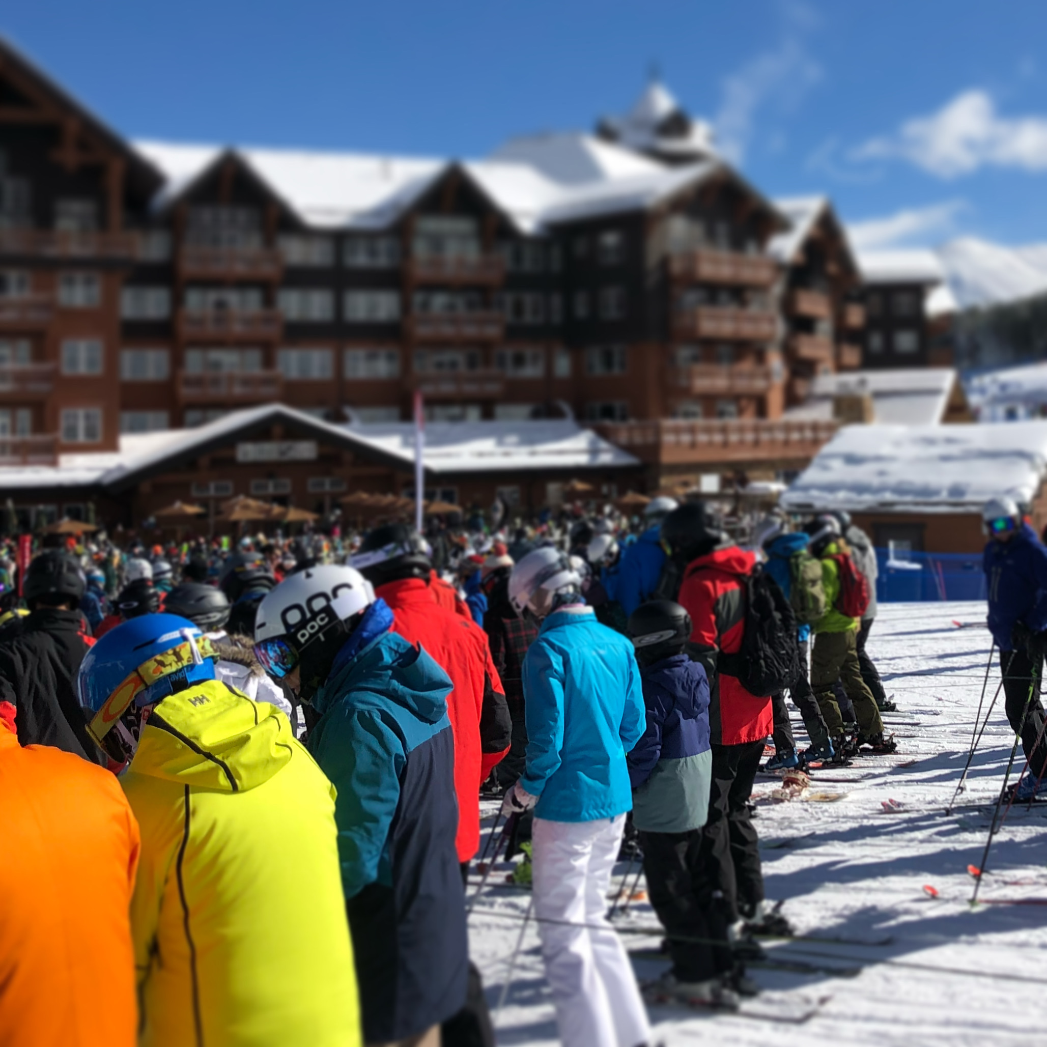 Crowds in line at Breckenridge ski resort
